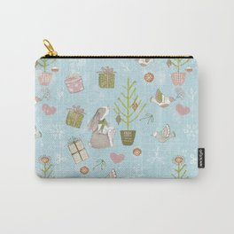 From Bunnies And Christmas-Cute teal X-Mas Pattern Carry-All Pouch