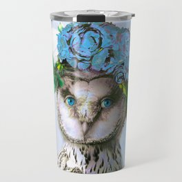 Cool Animal Art - Owl with a Flower Crown Travel Mug