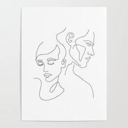 Couple Minimal Line Poster