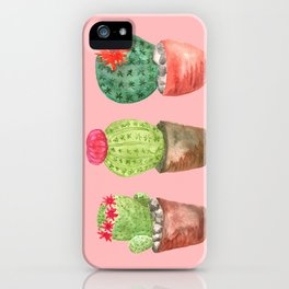 Three Cacti watercolor pink iPhone Case