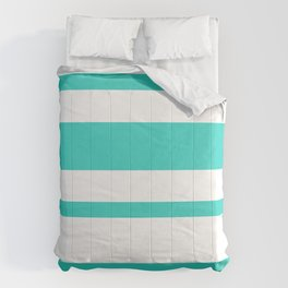 Mixed Horizontal Stripes - White and Turquoise Comforters