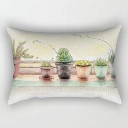 Succulents on a Window Sill Rectangular Pillow
