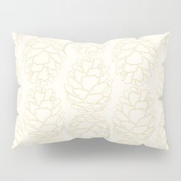 Rustic Pinecone Illustrated Print in Cream and Beige Pillow Sham