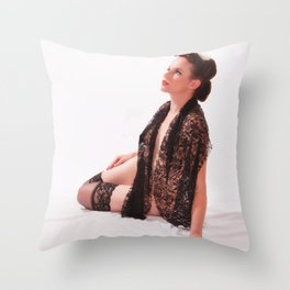 """Shawls and Garters"" - The Playful Pinup - Sexy Lace Classic Pin-up by Maxwell H. Johnson Throw Pillow"