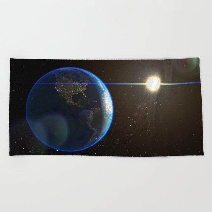 Night Lighted Earth from space Beach Towel