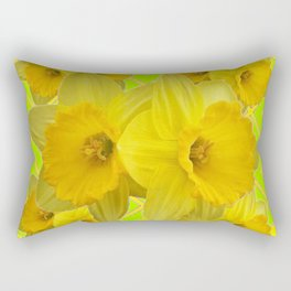 Lime Color & Yellow Daffodils Pattern Art Rectangular Pillow