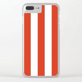 Vermilion orange - solid color - white vertical lines pattern Clear iPhone Case