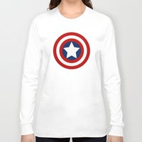 superhero Long Sleeve T-shirts featuring Superhero captain by Yuliya L
