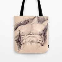 hercules Tote Bags featuring Seated Hercules (detail) by Dennis Tang