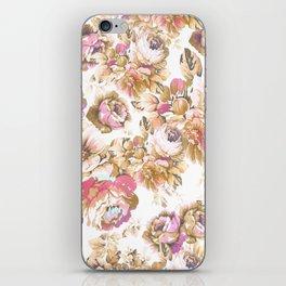 Shabby vintage rose pink brown bohemian floral iPhone Skin