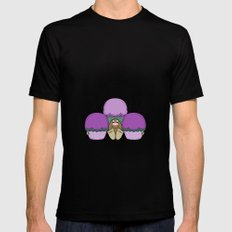 Cute Monster With Purple And Cyan Frosted Cupcakes MEDIUM Mens Fitted Tee Black