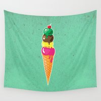 ice cream Wall Tapestries featuring Ice cream by Tony Vazquez