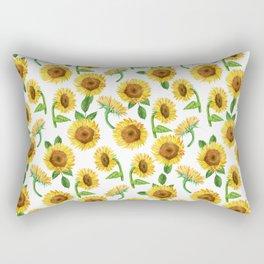 Watercolor Sunflower Pattern - sunflowers, sunflower print, summer floral, beachy floral, boho Rectangular Pillow