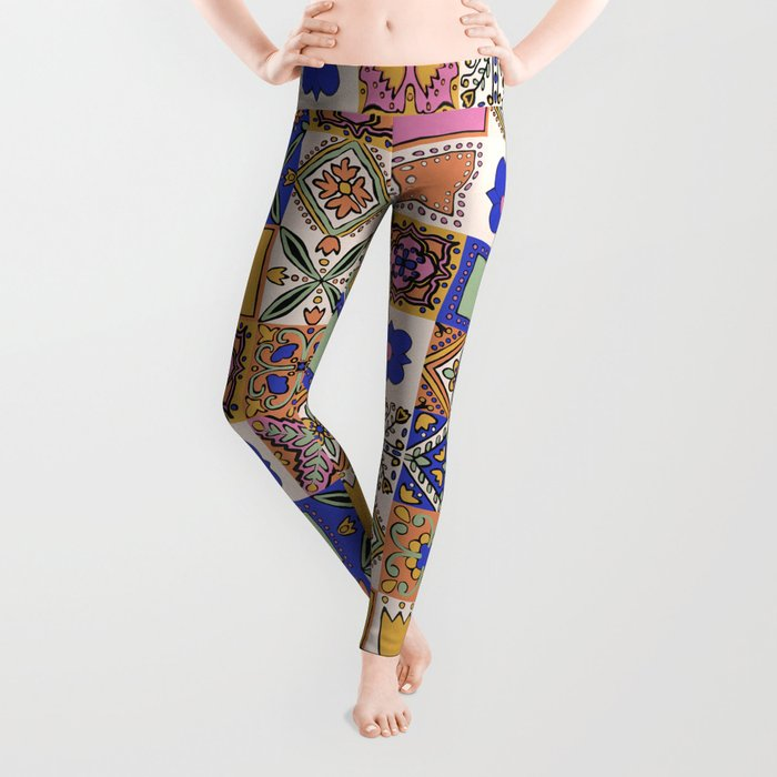 Hand Drawn Floral Patchwork Leggings