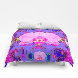 Purple Orchids Pattern Fantasy peacock eyes Art Pattern Art Design Comforters