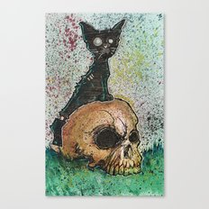 Black Cat with a Skull Canvas Print