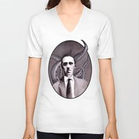 cthulu V-neck T-shirts featuring Shuddering At The Nameless Things by Zombie Rust
