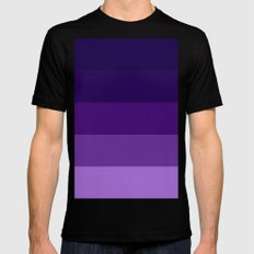 Purple Stripes Black MEDIUM Mens Fitted Tee