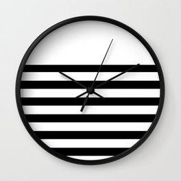 Black and white bretton stripe art Wall Clock
