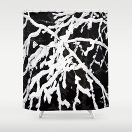 Snowy Branches On Black Background #decor #society6 #buyart Shower Curtain