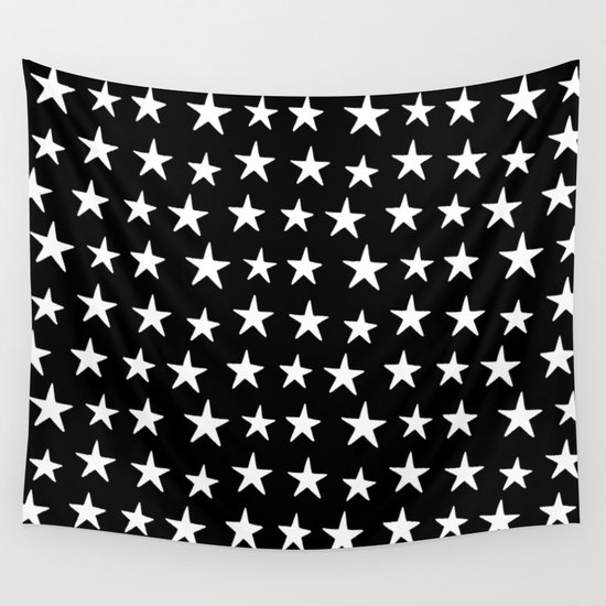 Star Pattern White On Black by dngrmouse