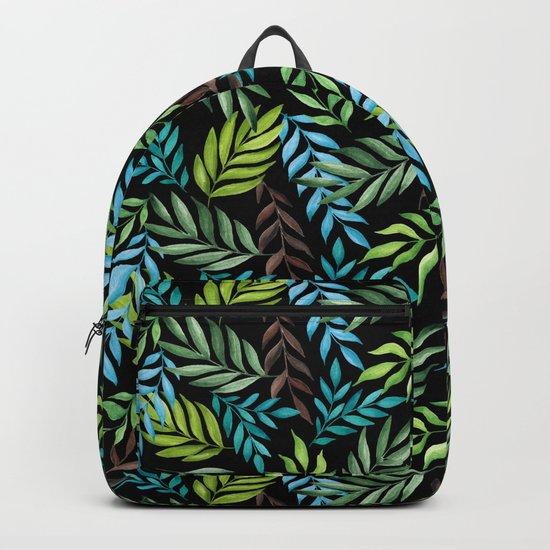Tropical leaf pattern. Watercolor Backpack