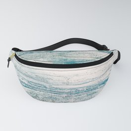 Sea Foam Blue Acrylic Textured Painting Fanny Pack