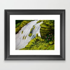 Mossy Waterfall Framed Art Print