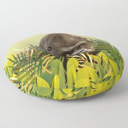 Gorilla in Jungle with Palm leaves Floor Pillow