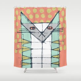 Cubist Cat Study #2 by Friztin Shower Curtain