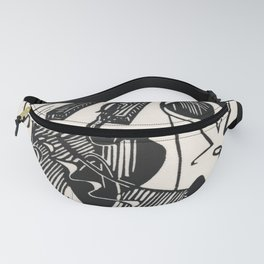 Herbie's Tune, Abstract Jazz Instruments Black and White Block Print Fanny Pack