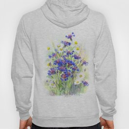 Meadow watercolor flowers with cornflowers Hoody