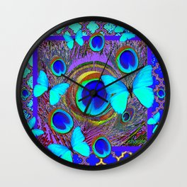 Abstract Blue Butterflies  Peacock Feather Eyes Pattern Art Wall Clock
