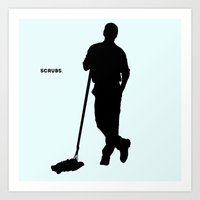 scrubs Art Prints featuring Janitor Scrubs by matteolasi