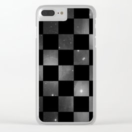 Checkered Space (Grey) Clear iPhone Case