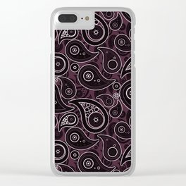 Eggplant Purple Paisley Pattern Clear iPhone Case