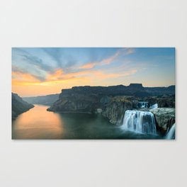 Sunset of Shoshone Falls and Snake River Canyon in Twin Falls, Idaho Canvas Print