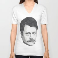 swanson V-neck T-shirts featuring Ron Swanson by Lina