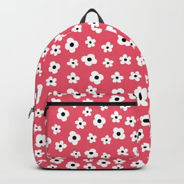 Coral White Spring Flower Pattern Backpack