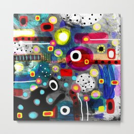 Abstract Grungy Distressed Art Dark Polka Dots Metal Print