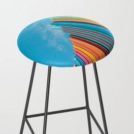 Colorful Rainbow Pipes Against Blue Sky Bar Stool