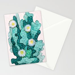 Blooming Cactus  turquoise teal Stationery Cards