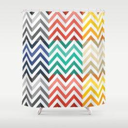 Colorful Flat Herringbone Pattern Shower Curtain