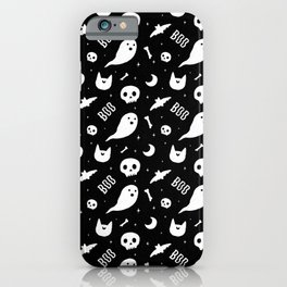 Halloween Pattern Black & White iPhone Case
