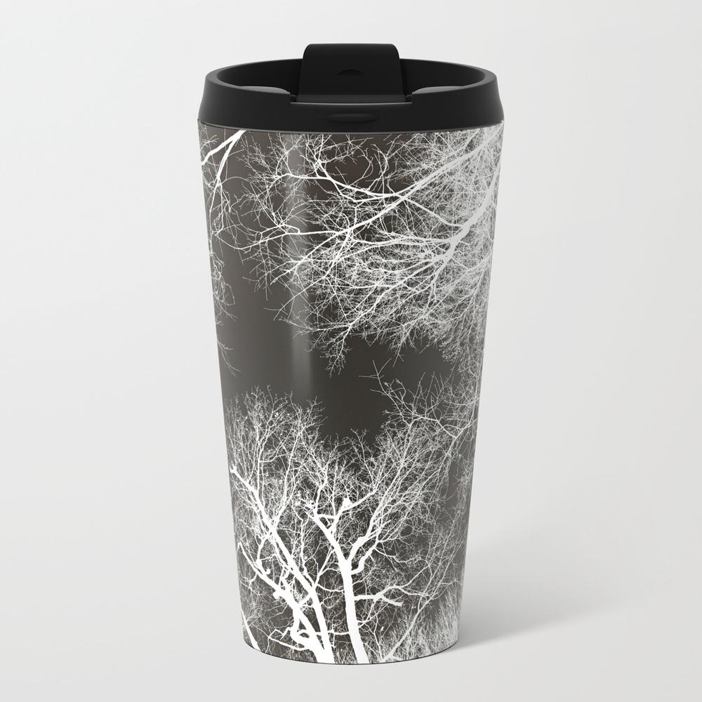 White Veins, Black Flesh Metal Travel Mug by Vikkart MTM8521382