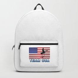 Team USA Pommel Horse Gymnastics American Flag Outdoor Sports Gift Design Backpack