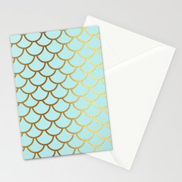 Aqua Teal And Gold Foil MermaidScales - Mermaid Scales Stationery Cards