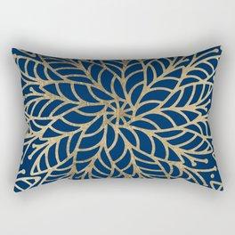 Modern chic navy blue faux gold floral mandala Rectangular Pillow