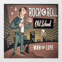 rock and roll Canvas Prints featuring Rock&Roll by Nano Barbero