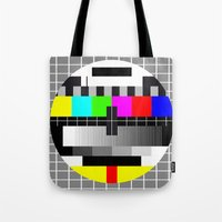 tv Tote Bags featuring TV by Les Hameçons Cibles